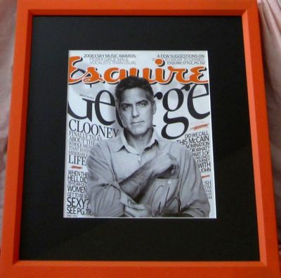 George Clooney autographed 2008 Esquire magazine cover matted and framed