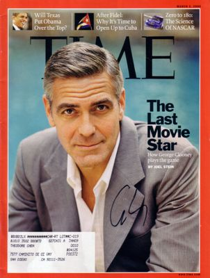 George Clooney autographed 2008 Time magazine