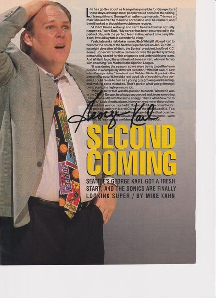 George Karl autographed full page basketball magazine photo