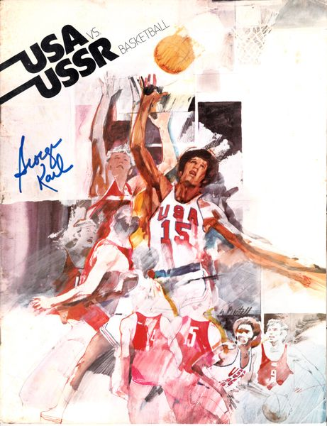 George Karl autographed USA vs USSR 1973 basketball program