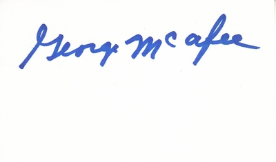 George McAfee autographed 3x5 index card