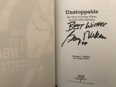 George Mikan autographed Unstoppable softcover book inscribed Best Wishes