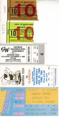 Georgia Tech Yellow Jackets basketball lot of 5 vintage ticket stubs (Bobby Cremins)