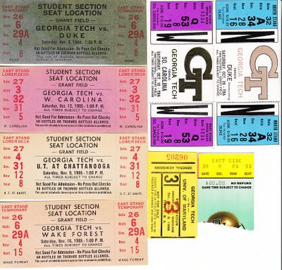Georgia Tech Yellow Jackets lot of 8 vintage football ticket stubs