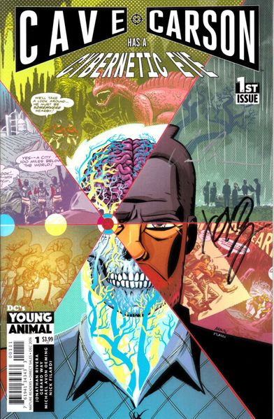 Gerard Way and Jon Rivera autographed Cave Carson Has A Cybernetic Eye issue #1 comic book