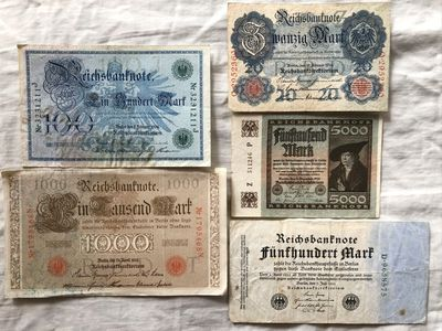 Germany lot of 5 different 1908 1910 1914 1922 banknotes 20 100 500 1000 5000 mark
