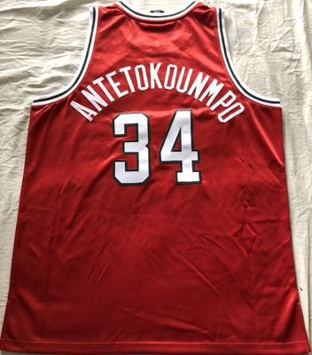 Giannis Antetokounmpo Milwaukee Bucks Adidas 2013-14 ROOKIE SEASON red game model jersey NEW