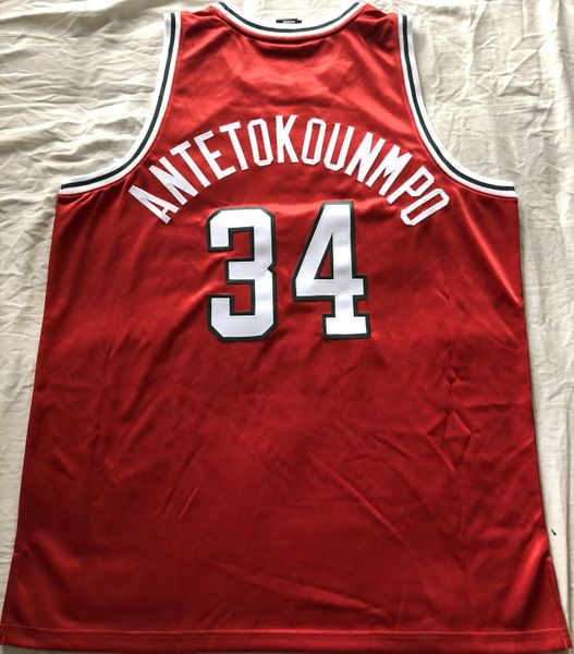 Giannis Antetokounmpo Milwaukee Bucks authentic Adidas 2013-14 ROOKIE SEASON red game model stitched jersey NEW