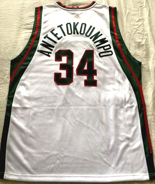 Giannis Antetokounmpo Milwaukee Bucks authentic Adidas 2013-14 ROOKIE SEASON white game model stitched jersey NEW