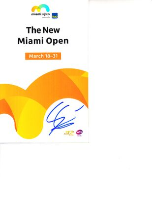 Gilles Simon autographed 2019 Miami Open tennis tournament map and program