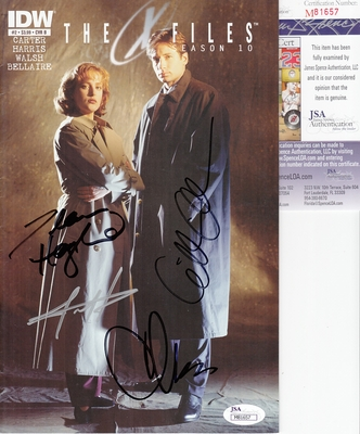 Gillian Anderson Chris Carter Dean Haglund autographed X-Files Season 10 comic book JSA