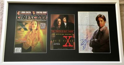 Gillian Anderson and David Duchovny autographed X-Files magazine photos matted and framed