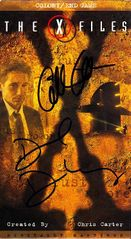 Gillian Anderson & David Duchovny autographed X-Files video cover matted & framed with 8x10 photo