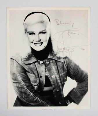 Ginger Rogers autographed 8x10 black and white photo inscribed Blessings with JSA Auction LOA (faded)