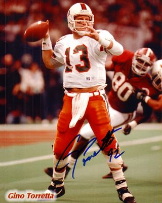 Gino Torretta autographed Miami Hurricanes 8x10 photo