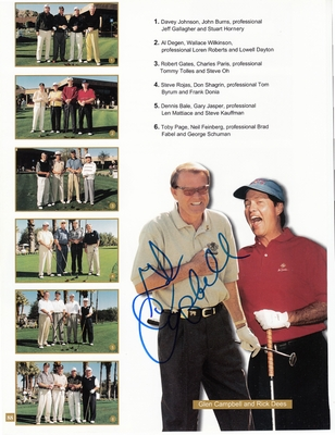 Glen Campbell autographed Bob Hope Chrysler Classic golf tournament program page with photo