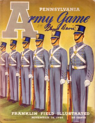 Glenn Davis autographed 1946 Army at Pennsylvania football program