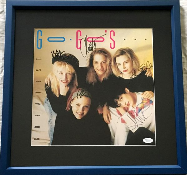 Go-Go's complete band autographed Greatest record album flat matted and framed (JSA)