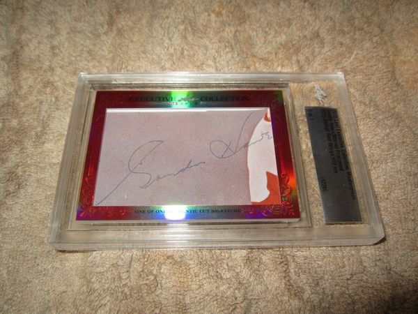 Gordie Howe and Marcel Pronovost 2015 Leaf Masterpiece Cut Signature certified autograph card 1/1