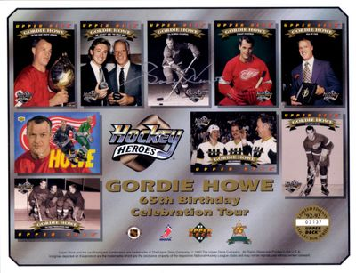 Gordie Howe autographed Detroit Red Wings 1992 1993 Upper Deck card sheet