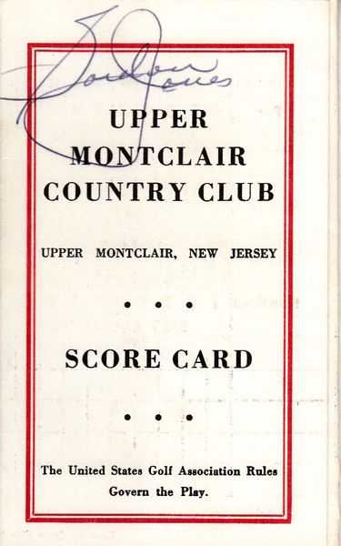 Gordon Jones autographed Upper Montclair Country Club 1960s golf scorecard