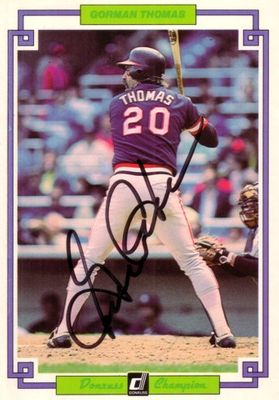 Gorman Thomas autographed 1984 Donruss Champion jumbo card