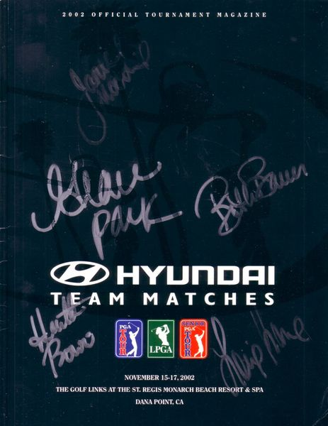 Grace Park Beth Bauer Heather Bowie Lorie Kane Janice Moodie (LPGA) autographed 2002 Hyundai Team Matches golf program