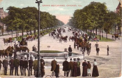 Grand Boulevard Chicago vintage early 1900s postcard