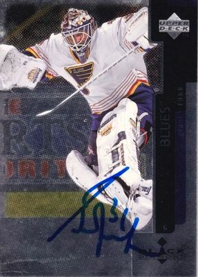 Grant Fuhr autographed St. Louis Blues 1997-1998 Upper Deck Black Diamond hockey card