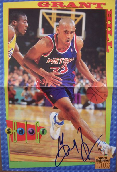 Grant Hill autographed Detroit Pistons Sports Illustrated for Kids mini poster