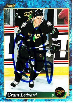 Grant Ledyard autographed Dallas Stars 1993-94 Score hockey card