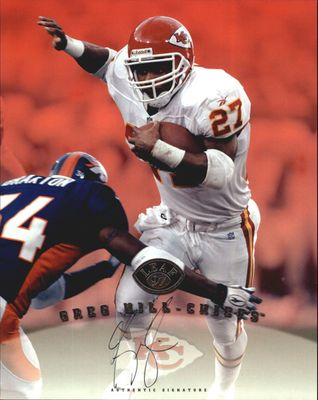 Greg Hill certified autograph Kansas City Chiefs 1997 Leaf 8x10 photo card