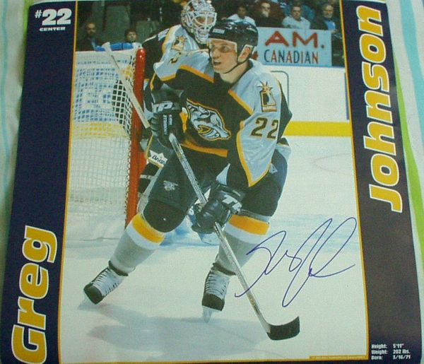 Greg Johnson autographed Nashville Predators calendar page photo