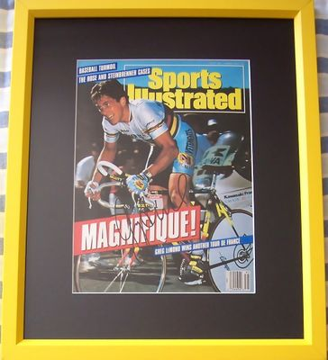 Greg LeMond autographed 1990 Tour de France Sports Illustrated cover matted and framed