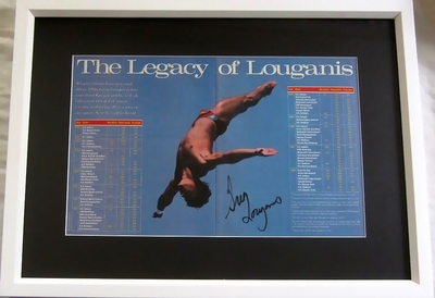 Greg Louganis autographed Sports Illustrated diving photo spread matted & framed