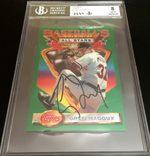 Greg Maddux autographed Atlanta Braves 1993 Topps Finest jumbo card BGS graded 8 (BAS authenticated and slabbed)