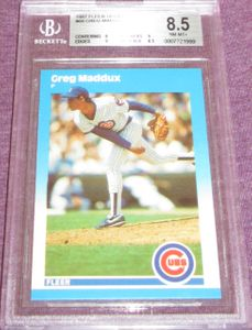 Greg Maddux Chicago Cubs 1987 Fleer Update Rookie Card #68 BGS graded 8.5