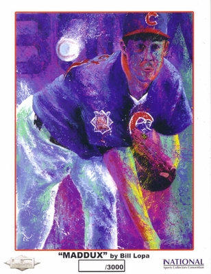 Greg Maddux Chicago Cubs 8x10 art print by Bill Lopa 2005 National Sports Collectors Convention ltd. edit. 3000