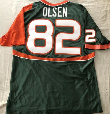 Greg Olsen 2005 Miami Hurricanes authentic Nike stitched green and orange jersey NEW