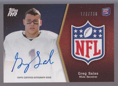 Greg Salas certified autograph 2011 Topps Rising Rookies Rookie Card #/260