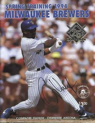Greg Vaughn autographed Milwaukee Brewers 1994 Spring Training program