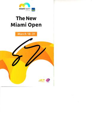 Grigor Dimitrov autographed 2019 Miami Open tennis tournament map and program