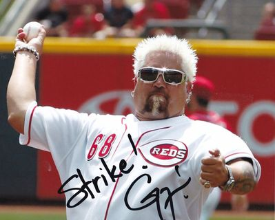 Guy Fieri autographed Cincinnati Reds 8x10 photo inscribed Strike!