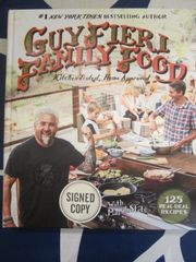 Guy Fieri autographed Family Food hardcover cookbook