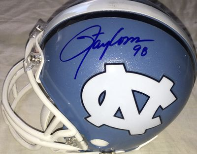 Lawrence Taylor and Hakeem Nicks autographed North Carolina Tar Heels mini helmet