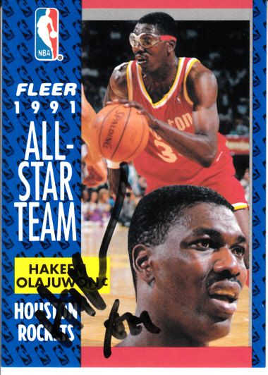 Hakeem Olajuwon autographed Houston Rockets 1991-92 Fleer All-Star Team card