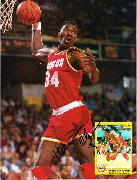 Hakeem Olajuwon autographed Houston Rockets Beckett Basketball back cover photo