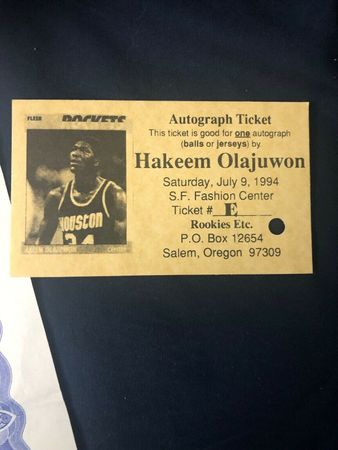Hakeem Olajuwon autographed Spalding NBA leather game model basketball