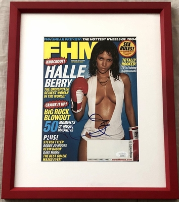 Halle Berry autographed November 2003 FHM magazine cover matted and framed (JSA)