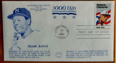 Hank Aaron 3000 Hits cachet Roberto Clemente 1984 First Day Cover